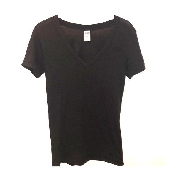 PINK Victoria's Secret Tops - PINK VICTORIA'S SECRET Black V Neck Tee Shirt